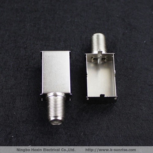 Single F connector with shield box