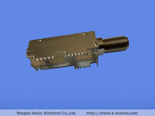 F connector with shielding for set top box